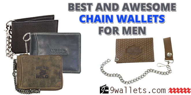 Deluxe Distressed Brown Leather Chain Wallet USA Made For Bikers Tri-Fold