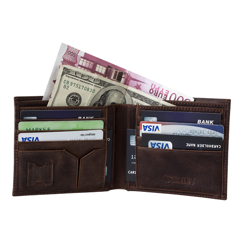 Classic Bi-Fold Wallet In Antique Coffee Leather