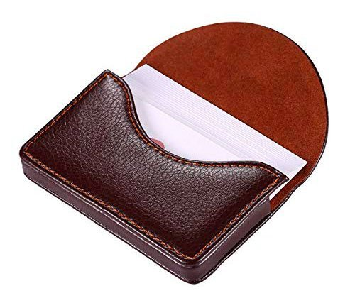 99e96f585334 Leather Business Name Card Holder Case Wallet Credit Card Book with Magnetic  Shut Coffee